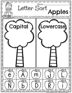 Preschool Apple Worksheets - Capital or Lowercase Letter Sort #preschool #preschoolworksheets #appletheme #appleworksheets #planningplaytime #letterworksheets