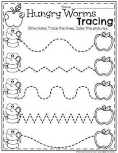 Preschool Apple Worksheets - Hungry Worms Tracing Worksheet #preschool #preschoolworksheets #appletheme #appleworksheets #planningplaytime #tracingworksheets