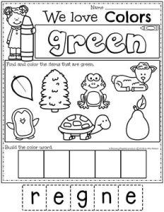 Preschool Color Worksheets - green #preschoolworksheets #colorworksheets #Planningplaytime