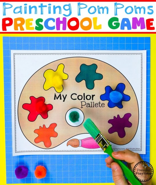 Preschool Colors Game - Brush the pom poms to the correct color. #preschool #colorrecognition #planningplaytime