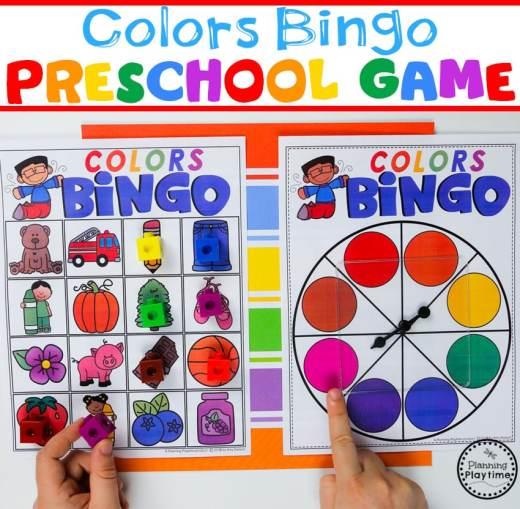 Preschool Colors Game - Spin a Color Bingo #preschool #colorrecognition #planningplaytime