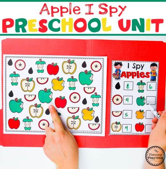 Preschool I Spy Game - Apple Theme#preschool #preschoolworksheets #appletheme #appleworksheets #planningplaytime