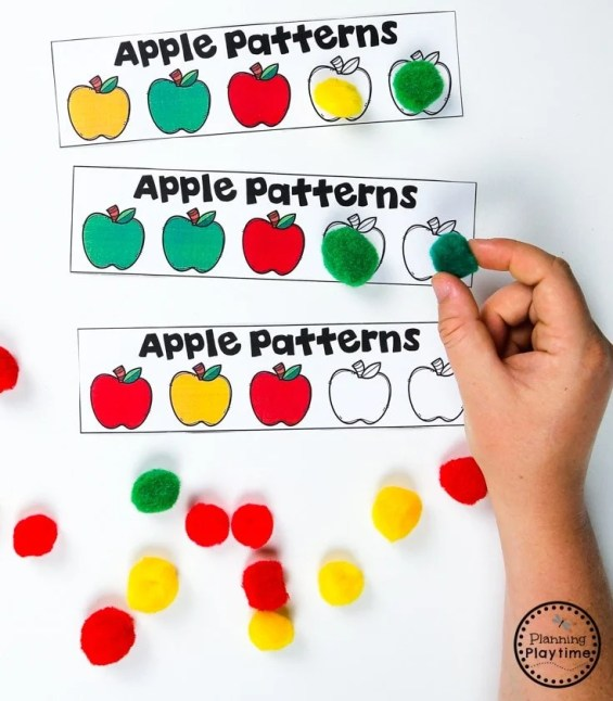 Preschool Pattern Activities - Apple Theme#preschool #preschoolworksheets #appletheme #appleworksheets #planningplaytime
