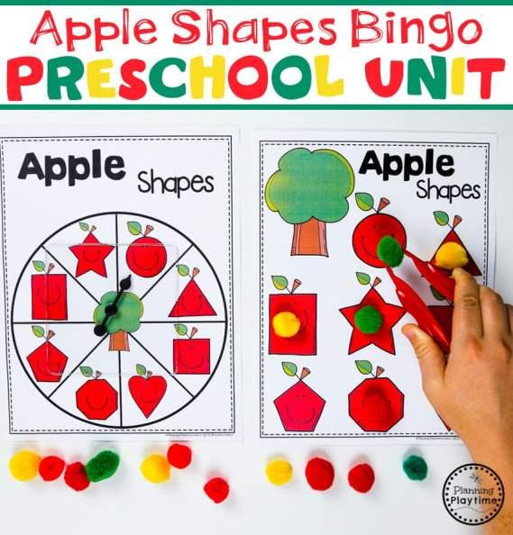 Preschool Shapes Math Game - Apple Theme#preschool #preschoolworksheets #appletheme #appleworksheets #planningplaytime