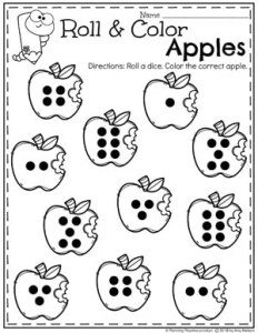 Roll and Color Apples Counting - Fall Preschool Worksheet #preschool #preschoolworksheets #appletheme #appleworksheets #planningplaytime #countingworksheets