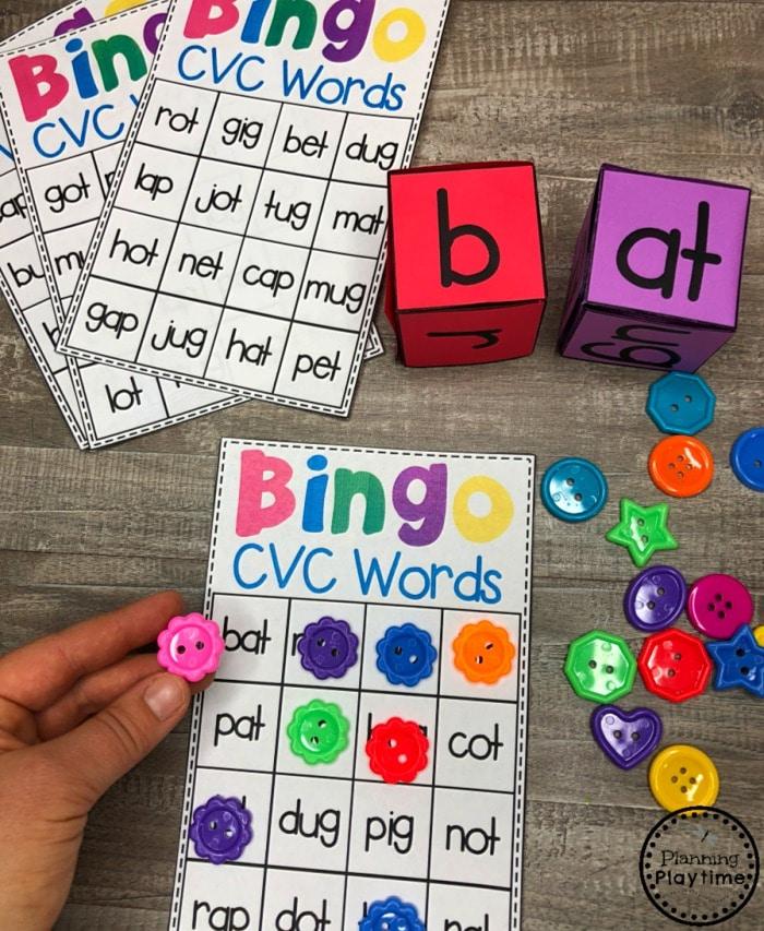 CVC Words Bingo Game - Kindergarten Word Work #cvcwords #planningplaytime #kindergarten