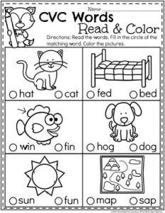 CVC Words - Read and Color #CVCwords #kindergarten #planningplaytime #kindergartenworksheets