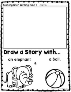 Writing Workshop for Kindergarten: Drawing a Story - Elephant and Ball