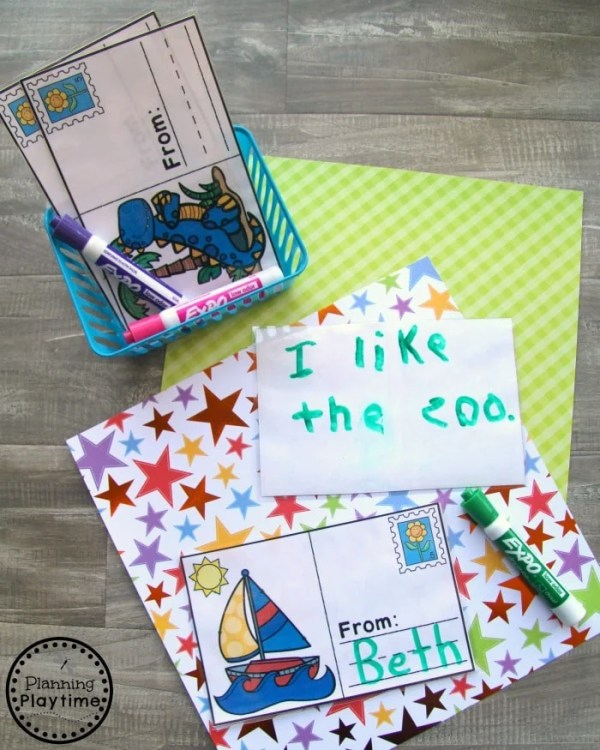 Kindergarten Writing Centers - Postcards