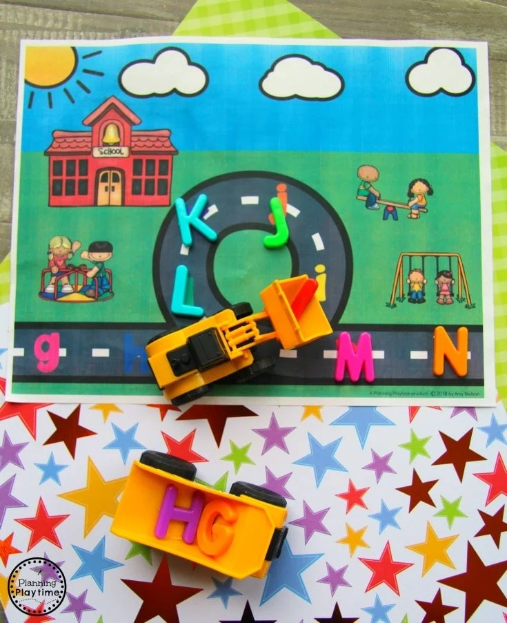 Preschool Transportation Unit - Alphabet Road Pick up and Dump #preschool #transportationunit #planningplaytime