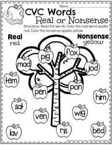 Real or Nonsense Word Sort - Kindergarten Word Work Worksheets 2 #CVCwords #kindergarten #planningplaytime #kindergartenworksheets