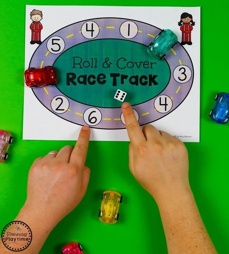 Roll and Cover Race Track - Preschool Transportation Unit