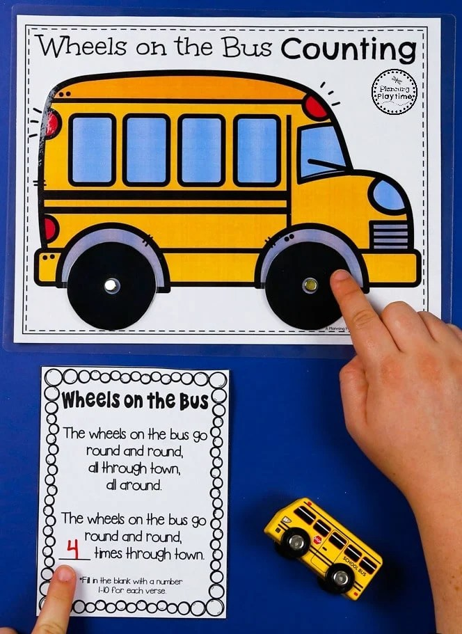 Wheels on the bus Spin and Count Song - Preschool Counting #preschool #transportationunit #planningplaytime