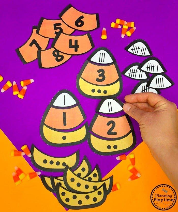 Halloween Math Game - Candy Corn Subitizing Puzzles #halloweenworksheets #preschoolworksheets #planningplaytime
