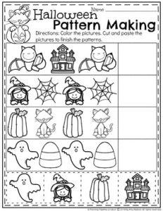 Halloween Preschool Worksheets - Pattern Worksheets #halloweenworksheets #preschoolworksheets #planningplaytime