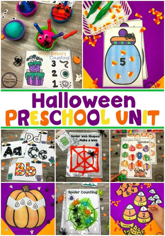 Preschool Halloween Games #halloweenworksheets #halloweencenters #preschoolworksheets #planningplaytime