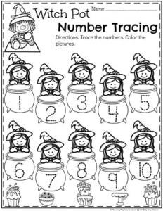 Preschool Number Worksheets for Halloween - Number Tracing #halloweenworksheets #preschoolworksheets #planningplaytime