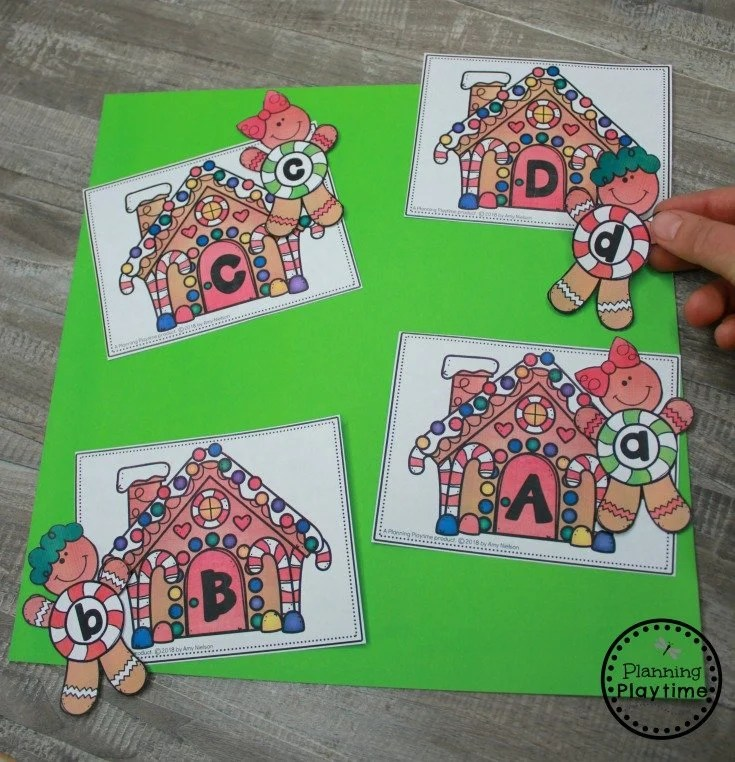 Gingerbread Man Letter Matching Game for Preschool #gingerbreadmanprintables #gingerbreadmanworksheets #gingerbreadmantheme #preschool #preschoolworksheets #planningplaytime