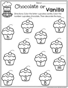 Letter and Number Sorting Worksheets - Chocolate vs Vanilla Cupcakes Baking