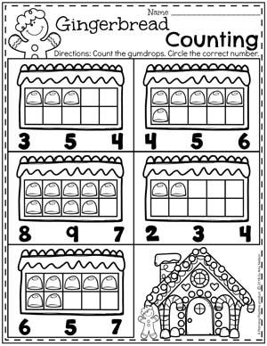 Preschool Counting Worksheets - Gingerbread Theme I #gingerbreadmanprintables #gingerbreadmanworksheets #gingerbreadmantheme #preschool #preschoolworksheets #planningplaytime