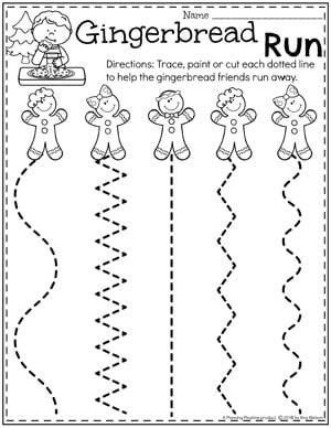 Preschool Cutting Worksheets - Preschool Gingerbread Theme #gingerbreadmanprintables #gingerbreadmanworksheets #gingerbreadmantheme #preschool #preschoolworksheets #planningplaytime