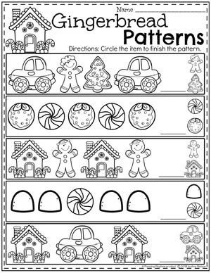 Preschool Patterns Worksheets - Gingerbread Theme for Winter #gingerbreadmanprintables #gingerbreadmanworksheets #gingerbreadmantheme #preschool #preschoolworksheets #planningplaytime