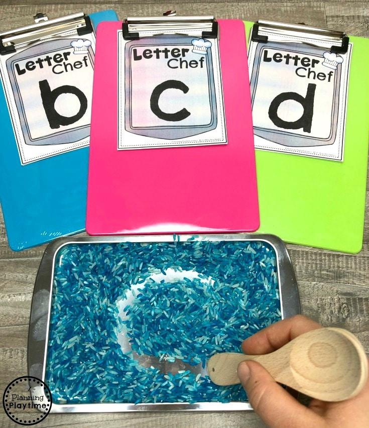 Sensory Tray Letter Writing - Writers Workshop for Preschool