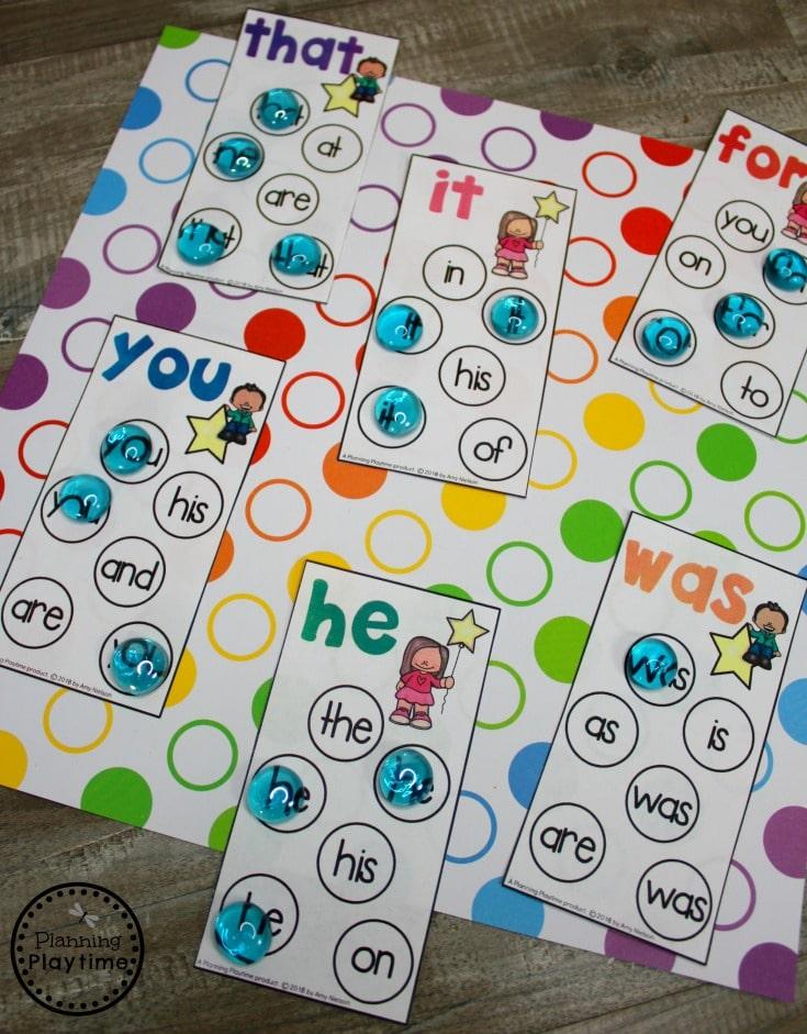Sight Word Find Game - Kindergarten Sight Words #sightwords #sightwordsworksheets #literacyworksheets #kindergartenworksheets #planningplaytime