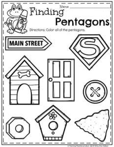 Pentagon Worksheets for Preschool #preschoolworksheets #2dshapes #shapesworksheets #planningplaytime