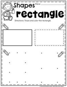 Preschool Shapes Worksheets - Tracing Rectangles