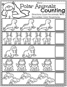 Preschool Counting Worksheets - Polar Animals Counting #arcticanimals #preschoolworksheets #planningplaytime