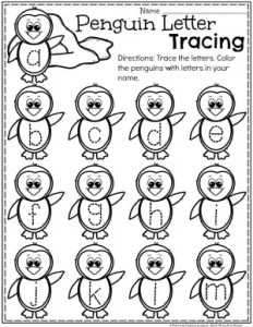 Preschool Penguin Worksheets - Letter Tracing Worksheets for Preschool #arcticanimals #preschoolworksheets #planningplaytime #letterworksheets