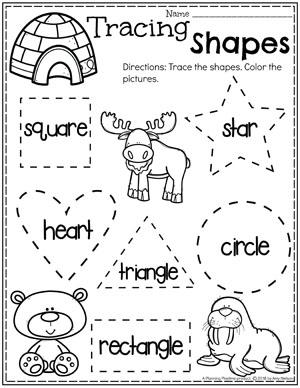 Preschool Shapes Tracing - Polar Animals Theme #arcticanimals #preschoolworksheets #planningplaytime