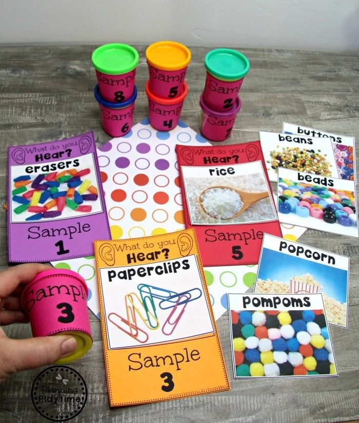 Sense of Sound Activity for the 5 Senses Preschool Theme #5senses #preschoolthemes #preschoolcenters #planningplaytime