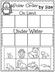 Sorting by Size Worksheets for Preschool - Polar Animals Theme #arcticanimals #preschoolworksheets #planningplaytime