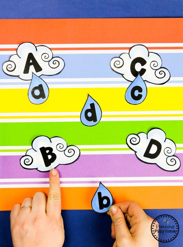 Fun Weather Activities - Letter Matching #planningplaytime #weathertheme #preschoolactivities #preschoolworksheets #springworksheets