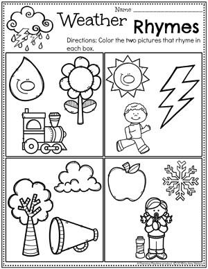 Preschool Rhyming Worksheets - Weather Theme #planningplaytime #weathertheme #preschoolworksheets #rhymingworksheets