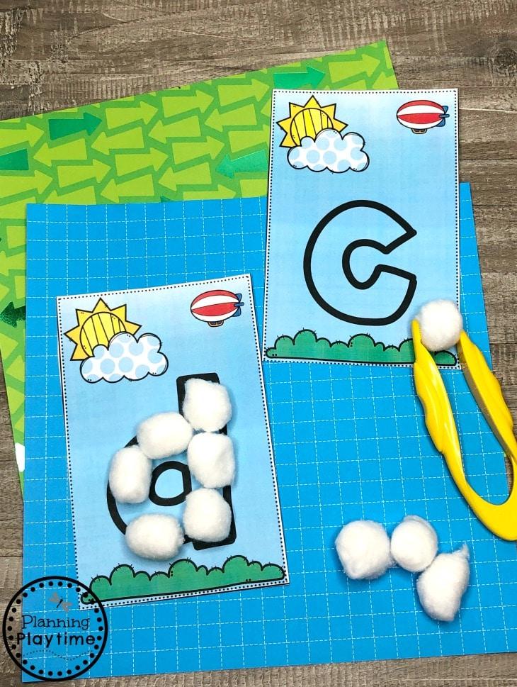 Preschool Weather Activities - Cloud Letters Fine Motor Skills #planningplaytime #weathertheme #preschoolactivities #preschoolworksheets #springworksheets