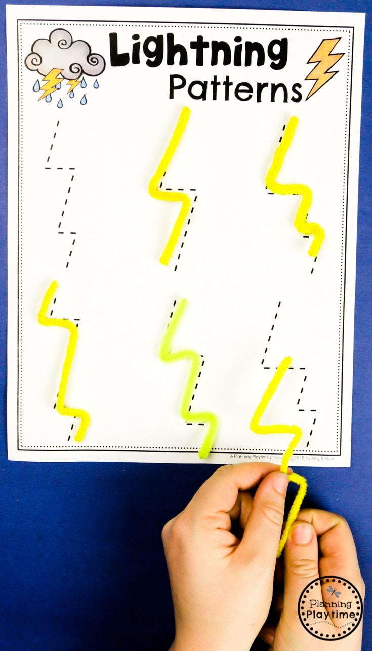 Preschool Weather Activities - Lightning Patterns #planningplaytime #weathertheme #preschoolactivities #preschoolworksheets #springworksheets
