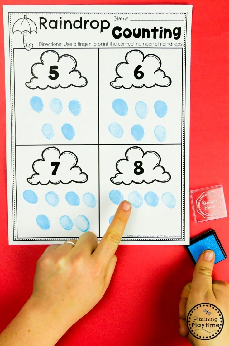 Preschool Weather Activities - Raindrop Counting #planningplaytime #weathertheme #preschoolactivities #preschoolworksheets #springworksheets