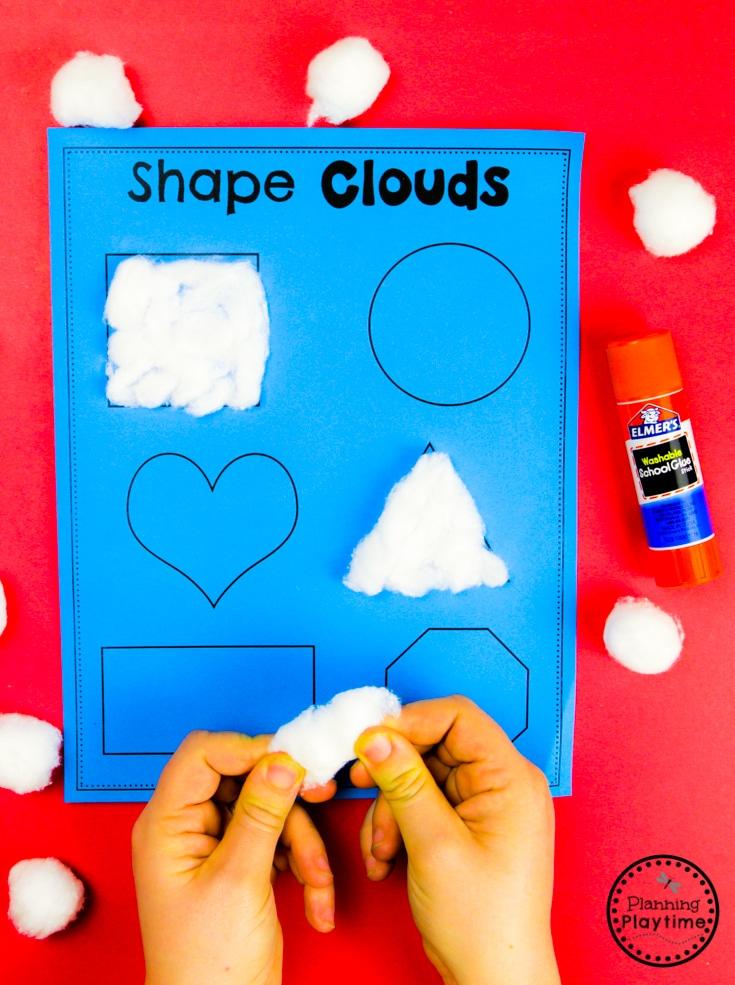 Shapes Activites for Preschool - Weather Theme #planningplaytime #weathertheme #preschoolactivities #preschoolworksheets #springworksheets