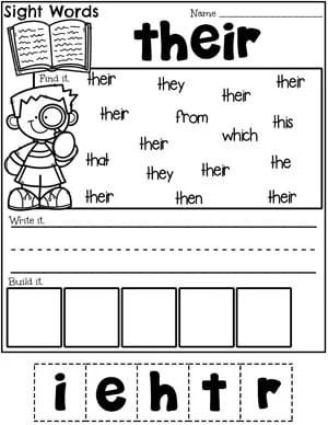 Sight Words Worksheet - Their #planningplaytime #sightwords #sightwordsworksheets #kindergartenworksheets