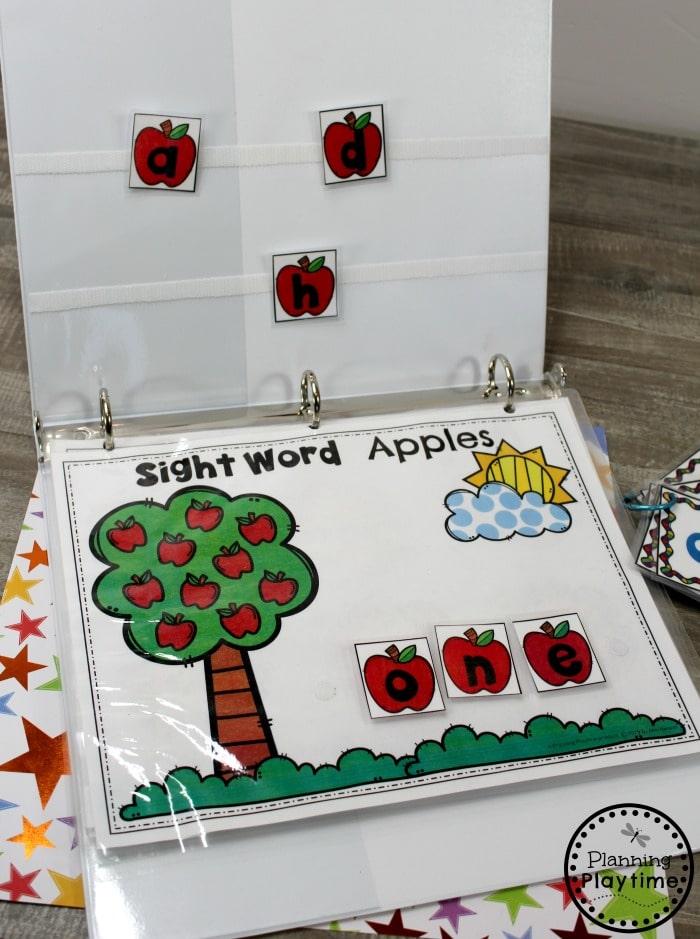 Sight Words for Kindergarten Binder - Interactive Activities #planningplaytime #sightwords #kindergarten #kindergartenworksheets #literacycenters