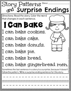 Kindergarten Writing Worksheets -Story Patterns and Surprise Endings pg 2 #planningplaytime #kindergartenworksheets #writingworksheets #kindergartenwriting