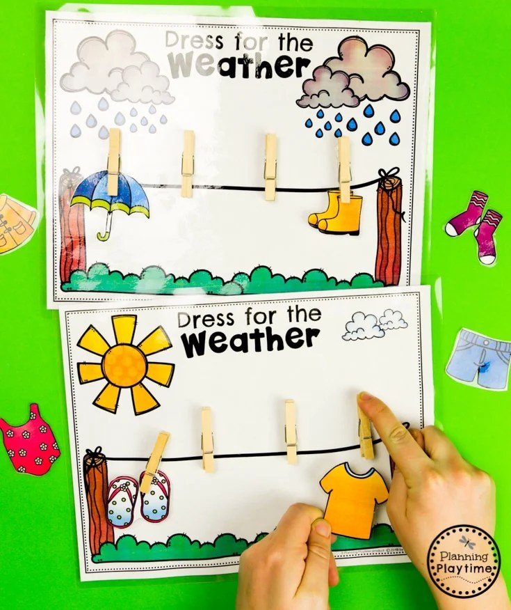 Weather Activities - Sorting Clothes for the Weather #planningplaytime #weathertheme #preschoolactivities #preschoolworksheets #springworksheets