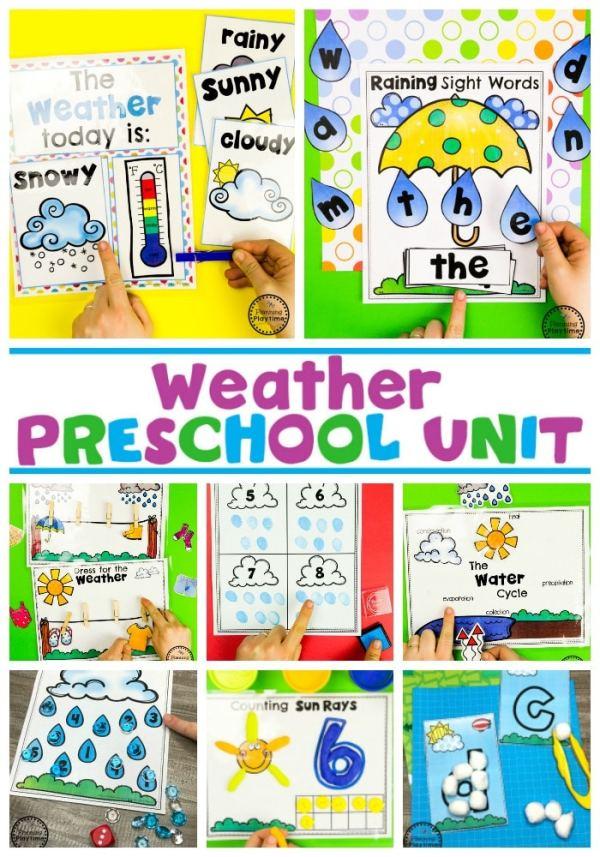 Weather Activities for Preschool #planningplaytime #weathertheme #preschoolactivities #preschoolworksheets #springworksheets