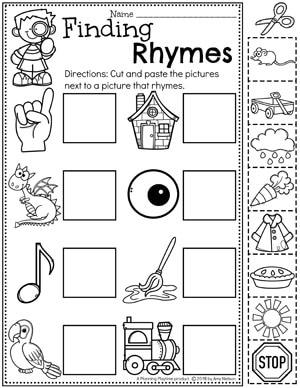 Kindergarten Rhyming Words Worksheets #planningplaytime #rhymingwords #kindergartenworksheets #rhymingworksheets #literacyworksheets