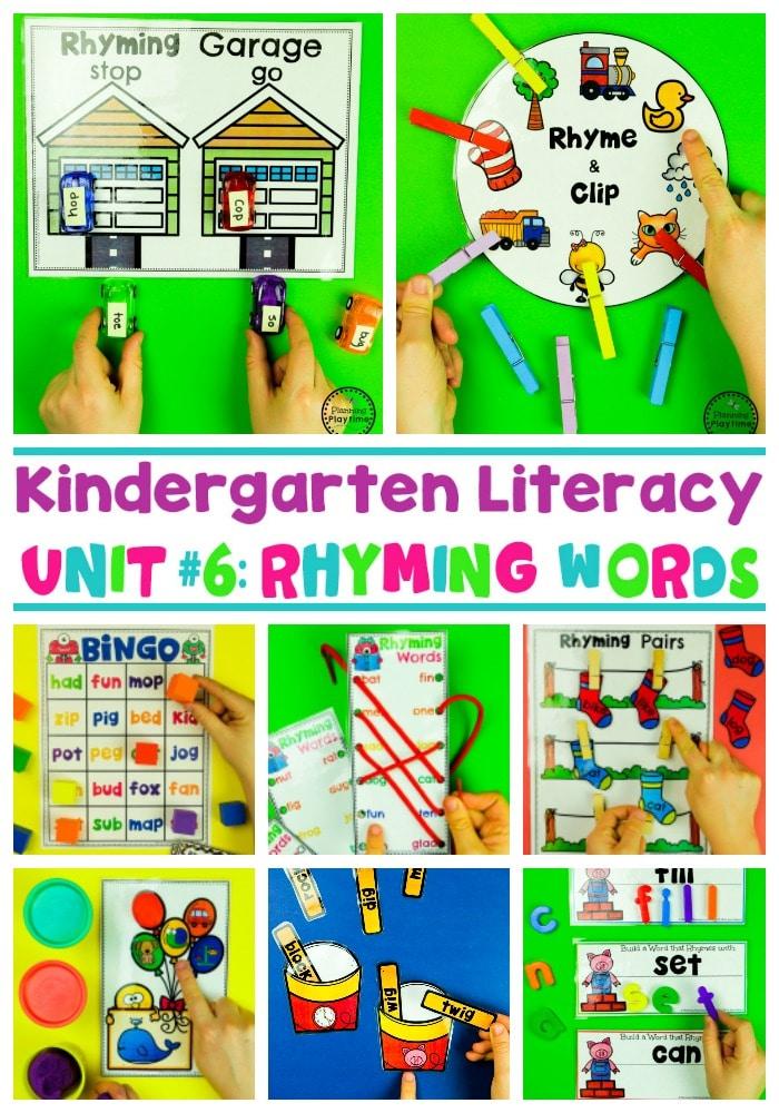 Rhyming Words for Kids - Games and Worksheets #planningplaytime #rhymingwords #kindergartenworksheets #rhymingworksheets #literacyworksheets