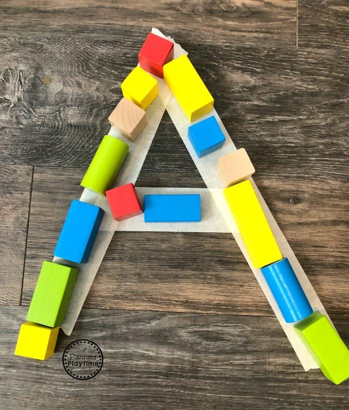 Alphabet Activity for preschool - Building Letters #constructiontheme #preschool #preschoolworksheets #planningplaytime