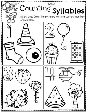 Counting Syllables Worksheets #syllables #syllablesworksheets #kindergartenworksheets #planningplaytime